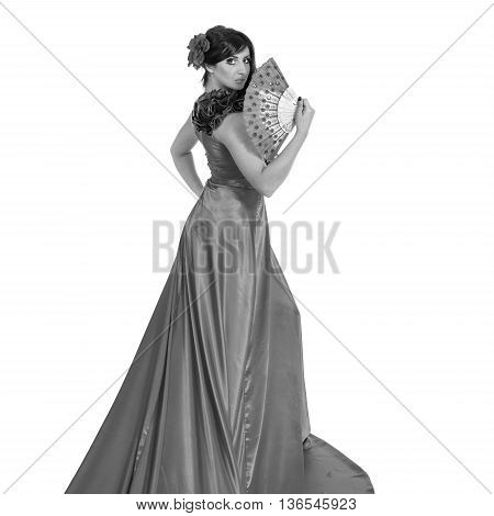 colorless portrait of Flamenco dancer woman posing, isolated on white in full length