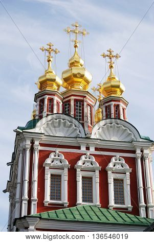 Old church in Novodevichy convent in Moscow. Popular touristic lanmdark. UNESCO World Heritage Site.