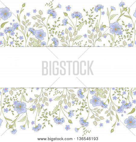 Vector greeting card template. Floral print, grunge striped panel and text frame. Great for Mother s Day, birthday, baby, Easter, wedding, menu, dinner party invitation, stationery