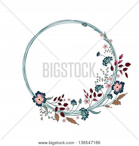Round Floral Frame. Cute flowers arranged un a shape of the wreath perfect for wedding invitations and birthday cards