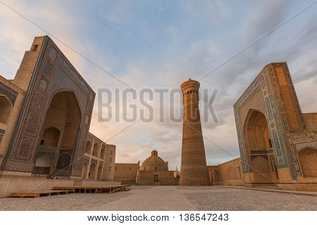 Poi Kalon mosque, minaret and gates in Bukhara, Uzbekistan