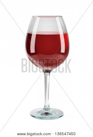Glass of red wine isolated on white background. 3D rendering of red wine.