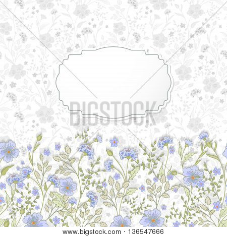 Template frame design for greeting card. Cute little flowers background. Pastel blue green herbs on white