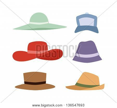 Beach accessories summer hats collection. Summer hats vector set. Summer hats and fashion beach travel hats. Beautiful tropical lifestyle people beach accessories.