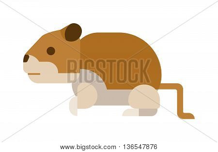 Chipmunk isolated on white background. Cute vector animal chipmunk character. Wildlife rodent squirrel funny chipmunk isolated striped adorable mammal animal big cheeks. Little scared fast rodent.