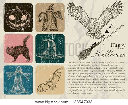 Vintage Halloween poster with pumpkin, owl, bat etc. Vector illustration EPS8