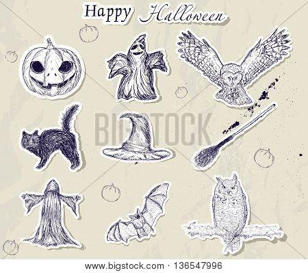 Set of Halloween stickers. Vector illustration EPS8