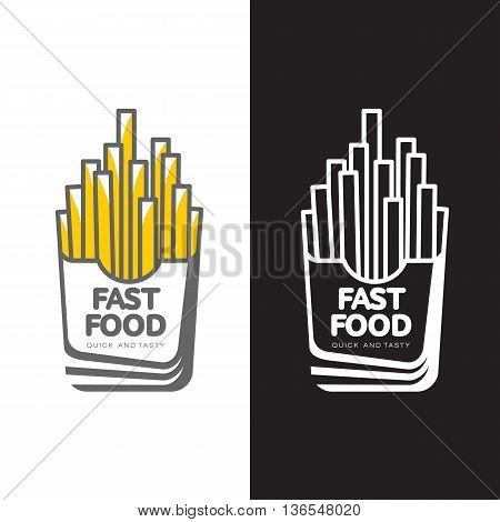 Logos potato fries, vector simple illustration isolated on white and black background. Potato logo set stock color and black and white. Logo fries for cafes and fast food restaurants