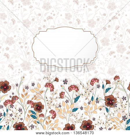 Template frame design for greeting card. Cute little flowers background. Brown blue herbs on white
