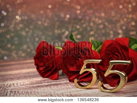 birthday concept with red roses on wooden desk. 3D render - fiftyfifth birthday. 55th