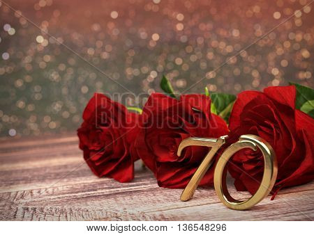 birthday concept with red roses on wooden desk. 3D render - seventieth birthday. 70th