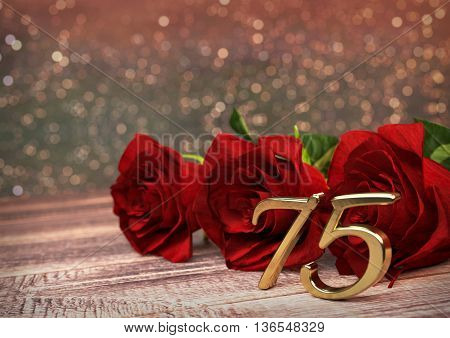 birthday concept with red roses on wooden desk. 3D render - seventyfifth birthday. 75th