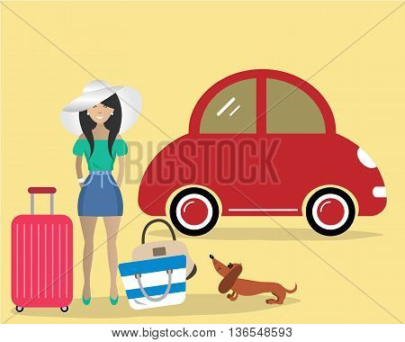 Lady with the dog goes on vacation. Vector illustration. There is a woman in a white hat near the red car on the picture
