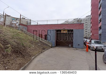 Nizhny Novgorod Russia. - April 06.2016. The entrance to the underground car park in a multistory building