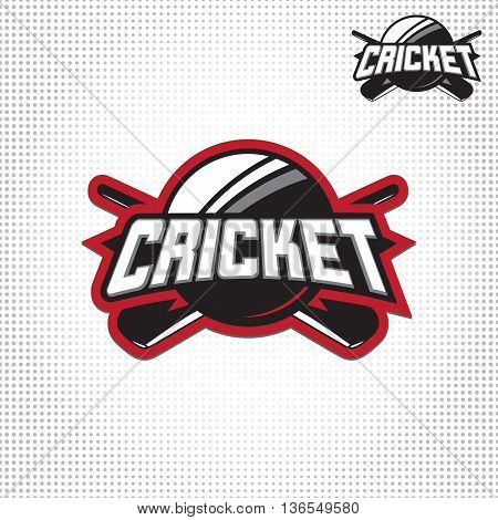 Vector illustration of cricket sport logo with typography sign, ball, bat for team, competition, championship isolated on light background.