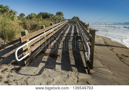 Boardwalk on Caspersen Beach in Florida. USA