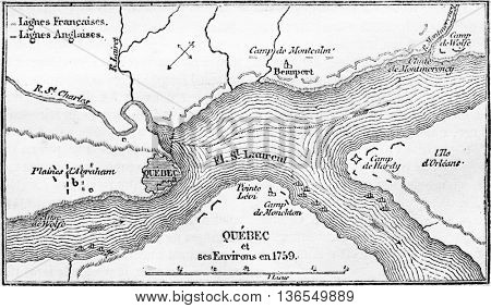 French lines, British lines, vintage engraved illustration. Magasin Pittoresque 1861.