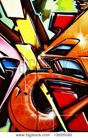 Very colorful cool graffiti portrait