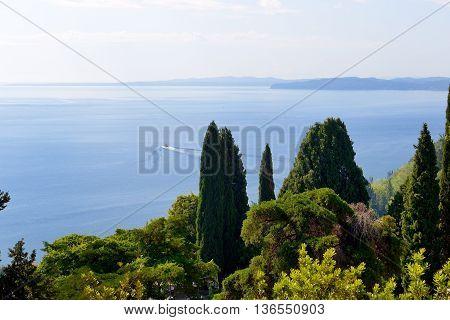 The sea view from Achilleion Corfu island Greece