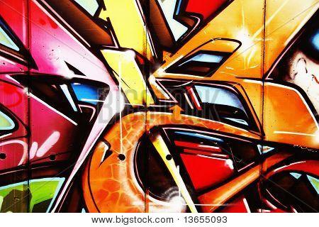Very colorful cool graffiti landscape
