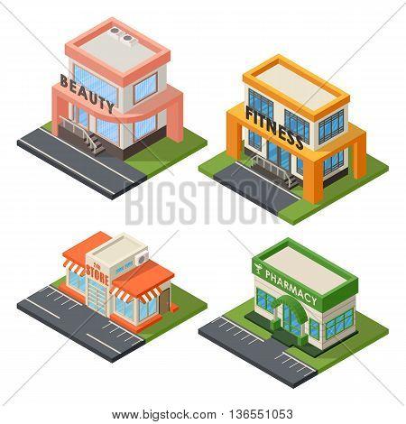 Vector isometric buildings set. Convenience store supermarket isometric building. Warehouse, beauty salon, fitness center isometric buildings design. Urban business construction design set.