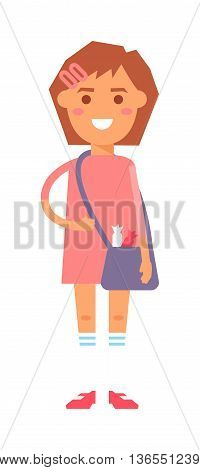 Cute baby kid girl and cute character vector. Cute girl beautiful fashion young female and cute dress kid love child. Happy girl. Cartoon character.