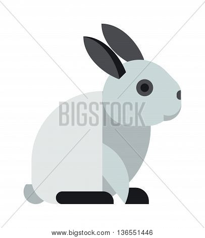 White toy bunny rabbit sitting cute animal cartoon vector. White rabbit fun symbol. Cheerful hare domestic animal. Bunny rabbit sitting cute animal cartoon vector.