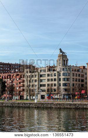Bilbao, Vizcaya/Spain - 06/16/2016: Building the Tiger and Nervion estuary in Bilbao