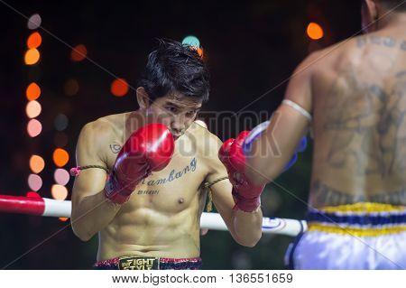 Huahin Thailand-16Apr,2016:unidentified People,muaythai,thai Boxing Martial Art Of Thailand At Huahi