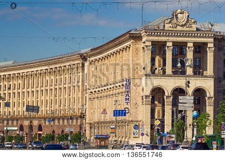 KIEV UKRAINE - MAY 16 2016: Kreschatyk street and the Main Post Office in Kiev - one of the most popular places where people like to meet Ukraine