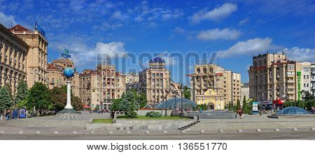 KIEV UKRAINE - MAY 16 2016: Panoramic view of the Independence Square in Kiev - one of the most popular places where people like to meet Ukraine