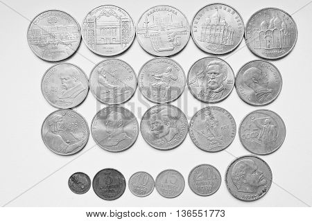 Set Of Soviet Russian Anniversary Ruble Coins, All Ussr Nominals. Black And White Photo