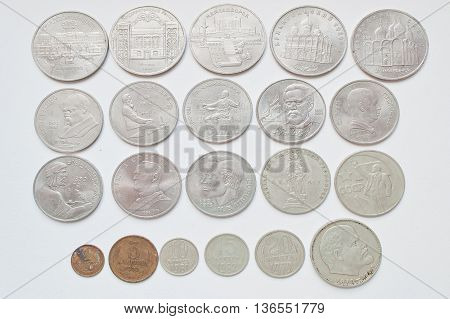 Set Of Soviet Russian Anniversary Ruble Coins, All Ussr Nominals.