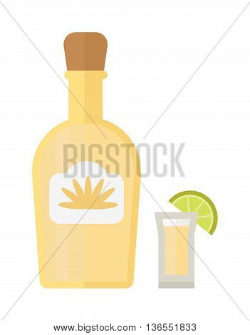 Bottle of gold tequila and shot glass with lime slice. Isolated on white background tequila bottle mexican liquor. Citrus party tequila bottle taste garnish cool refreshment alcohol.
