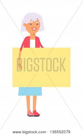 Woman hold big banner isolated on white background for your text. Young happy smile granny woman standing hold pointing her finger blank board, attractive girl wear blue dress.