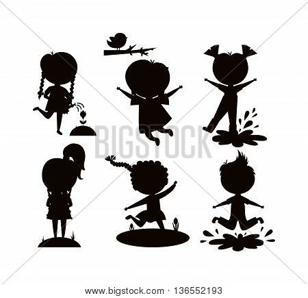 Many different summer kids, boys and girls black silhouette running in park on sunny summer day. Summer kids casual clothes and playing summer kids. Summer kids outdoor leisure activity. Children play