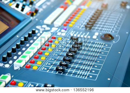 Big mixer console in a concert stage.