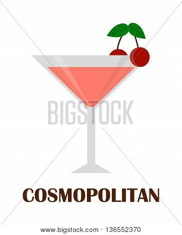 Cosmopolitan cocktail with cherry isolated. Drink glass cold alcohol beverage cosmopolitan cocktail. Refreshment fruit summer cool party cosmopolitan cocktail. Martini lime liquor vodka mixed water