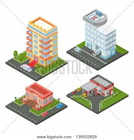 Vector isometric buildings set. Isometric building hospital building, gas station, hotel architecture fancy restaurant. Exterior town house isometric building office property industry plan apartment.