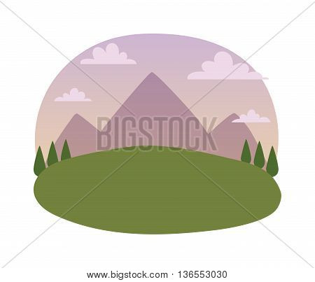 Nature background mountains under mist morning and nature background vector illustration. Nature background summer forest and spring mountains plant park green grass and beautiful environment river.