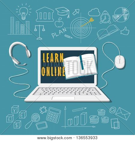Flat modern design vector illustration concept of business online education e-learning with laptop book headphone mouse and hand drawn symbols. eps 10