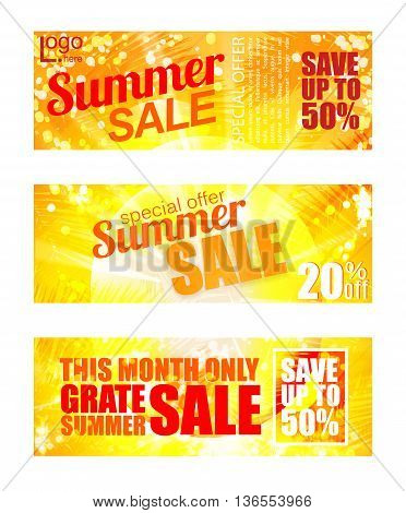 Summer sale banner set. Sunny text and colors.