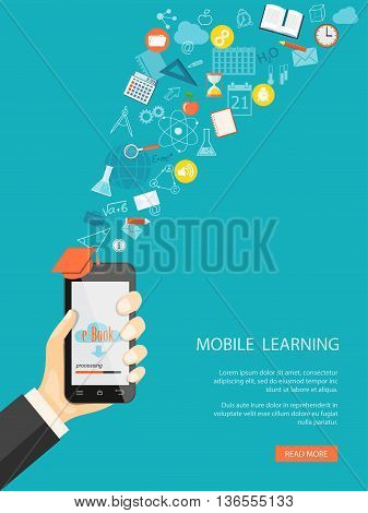 Flat modern design vector illustration concept of online education e-learning with mobile phone in the hand icons and hand drawn symbols. eps 10