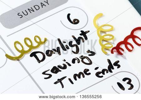 Daylight Savings Time -ends