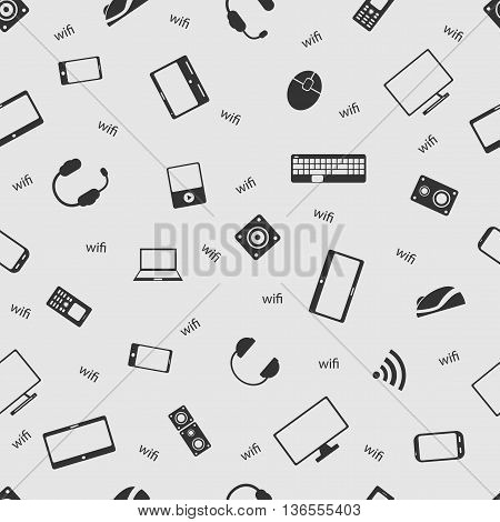 Vector illustration computer on the background seamless pattern. Set of elements