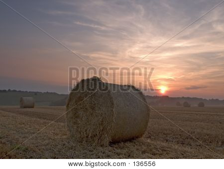 Hay Bail Sunset