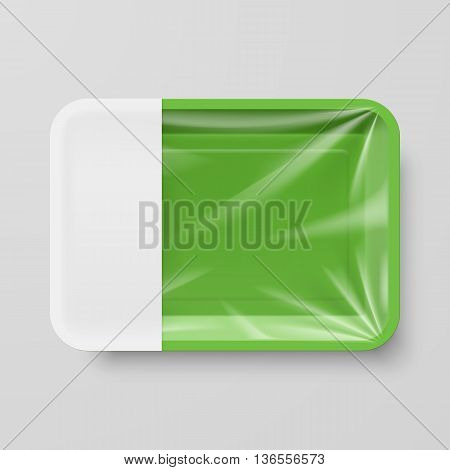 Empty Green Plastic Food Container with Empty Label on Gray