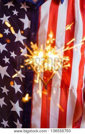 women in usa bloose with  sparkler