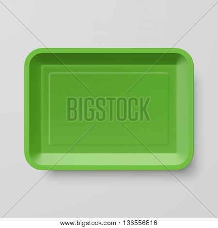 Empty Green Plastic Food Container on Gray Background