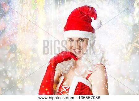 Attractive woman portrait in Santa Clause outfit
